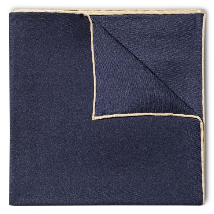 Budd Shoe Lace Silk Handkerchief in Navy & Cream-Pocket Square-Sterling-and-Burke