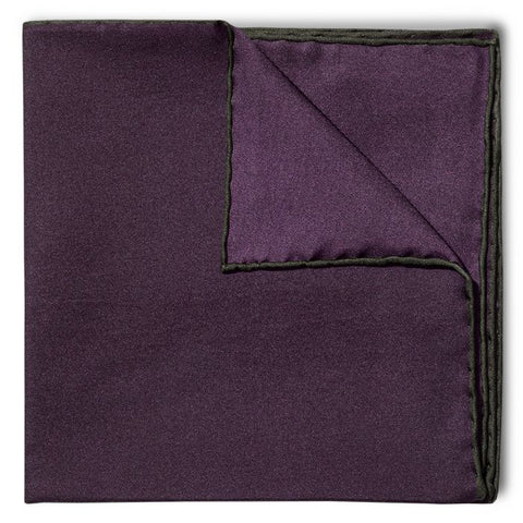 Budd Shoe Lace Silk Handkerchief in Plum & Green-Pocket Square-Sterling-and-Burke