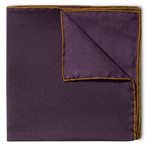 Budd Shoe Lace Silk Handkerchief in Plum & Brown