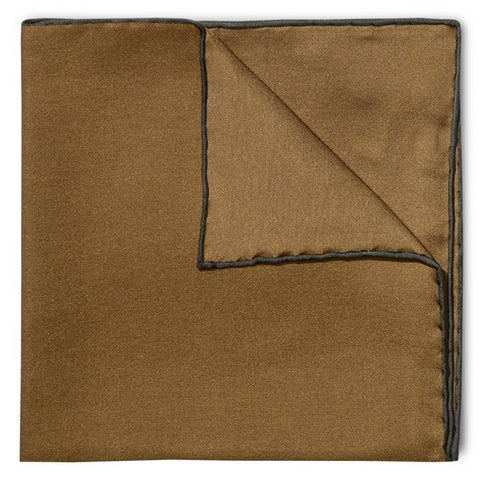 Budd Shoe Lace Silk Handkerchief in Brown & Green