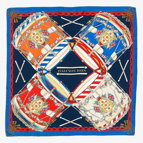 Halcyon Days Drums Silk Scarf in Navy, 36 by 36 Inches