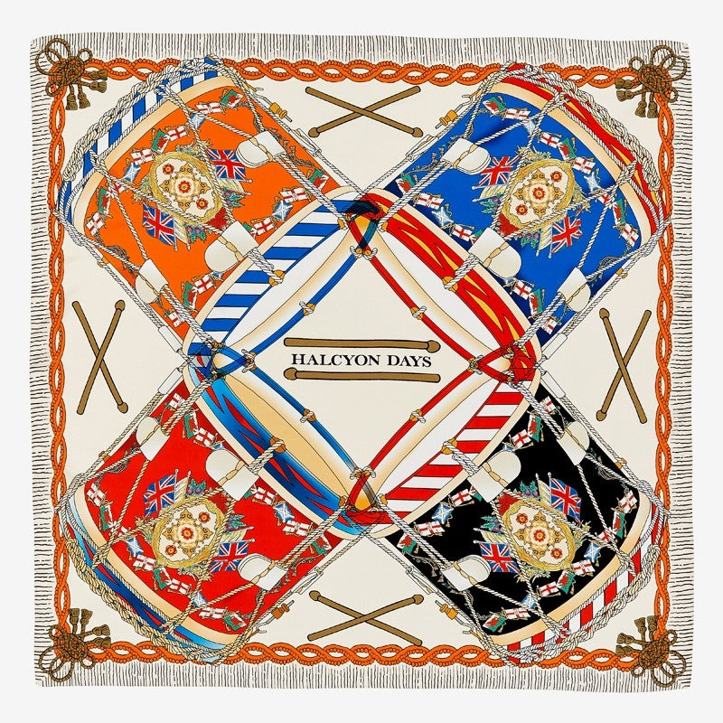 Halcyon Days Drums Silk Scarf in Ivory, 36 by 36 Inches-Ladies Silk Scarf-Sterling-and-Burke
