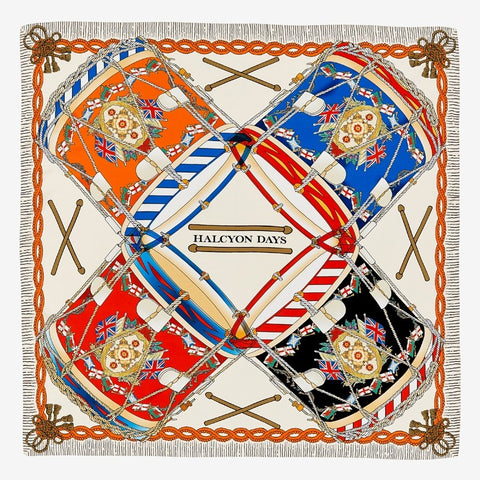 Halcyon Days Drums Silk Scarf in Ivory, 36 by 36 Inches