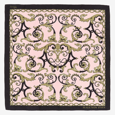 Halcyon Days Wallace Balustrade Silk Scarf in Pink, 36 by 36 Inches