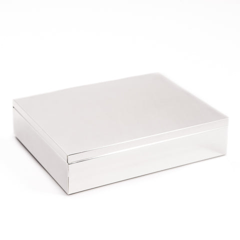 Silver Plate Stationery Box | Rectangular Desk Box | 6 by 8 Inch Silver Stationery Box | Custom Box for Corporate Gift Giving | Sterling and Burke Ltd