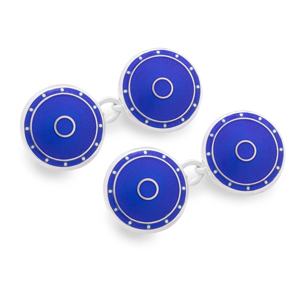 Budd Silver Domed Enamel Cufflinks in Royal Blue-Cufflinks & Studs-Sterling-and-Burke