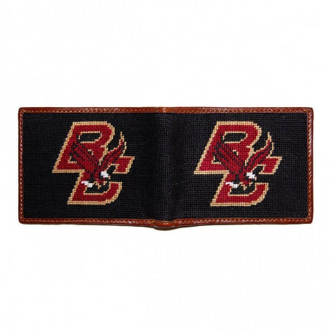 Needlepoint Collection | Boston College Needlepoint B-Fold Wallet | Maroon and Black | Smathers and Branson