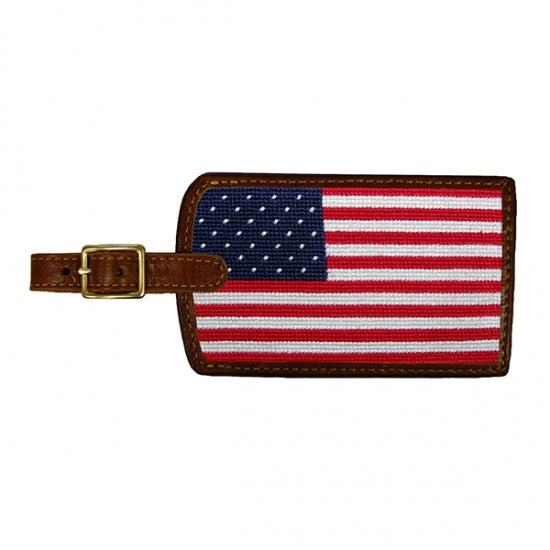 Needlepoint Collection | Big American Flag Needlepoint Luggage Tag | Large American Flag | Smathers and Branson-Luggage Tag-Sterling-and-Burke