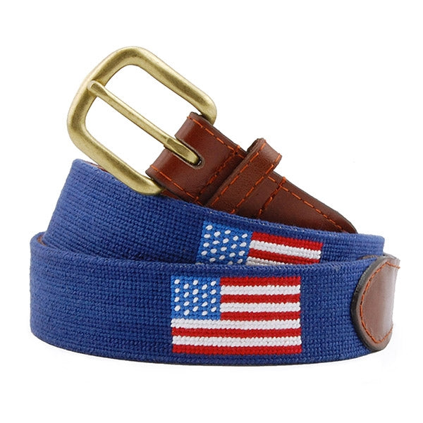 Needlepoint Collection | American Flag Needlepoint Belt | USA Flag Needlepoint Belt | Stars and Stripes Belt | Dark Navy | Smathers and Branson-Belt-Sterling-and-Burke