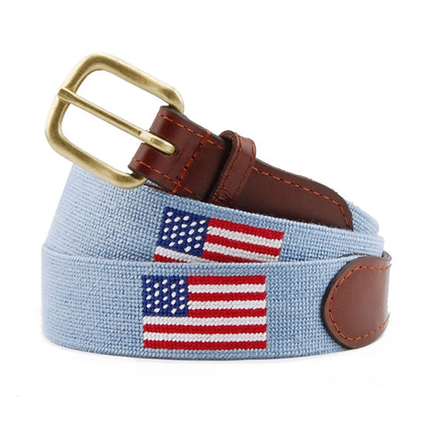 Needlepoint Collection | American Flag Needlepoint Belt | USA Flag Belt | Light Blue | Antique Blue | Smathers and Branson