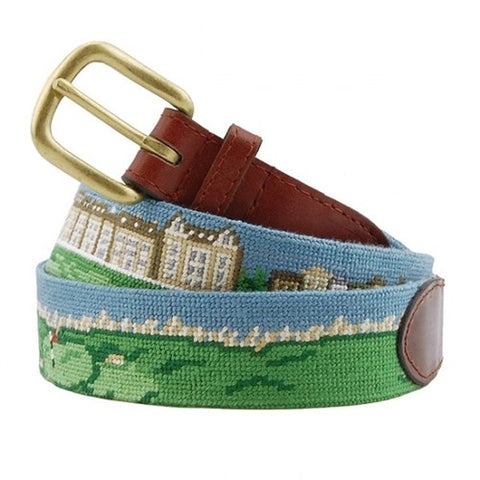Needlepoint Collection | St Andrews | Saint Andrews Needlepoint Belt with Monogram | Special Order | Smathers and Branson-Belt-Sterling-and-Burke