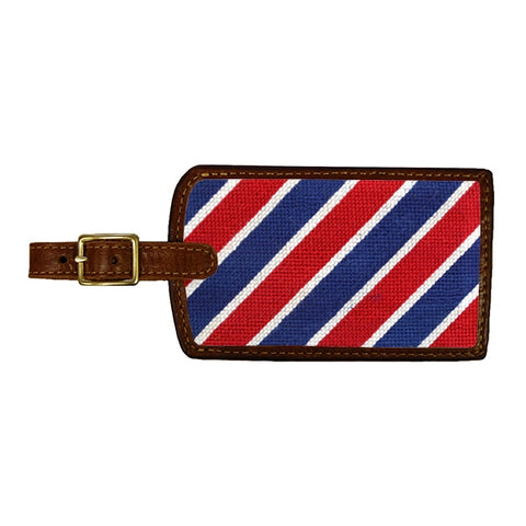 Needlepoint Collection | Patriotic Stripe Needlepoint Luggage Tag | Smathers and Branson