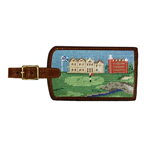 Needlepoint Collection | Saint Andrews Golf Scene Needlepoint Luggage Tag | Smathers and Branson