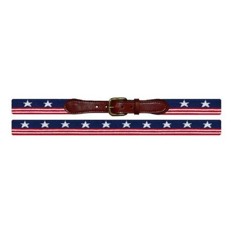 Needlepoint Collection | Old Glory Needlepoint Belt | American Flag Belt | USA Flag | Stars and Stripes Belt | Special Order | Smathers and Branson-Belt-Sterling-and-Burke