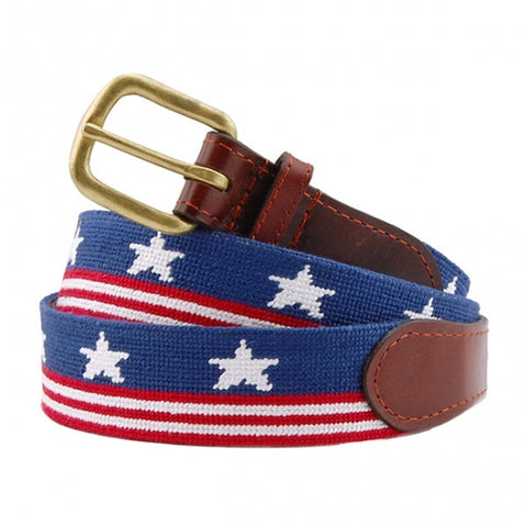 Needlepoint Collection | Old Glory Needlepoint Belt | American Flag Belt | USA Flag | Stars and Stripes Belt | Special Order | Smathers and Branson