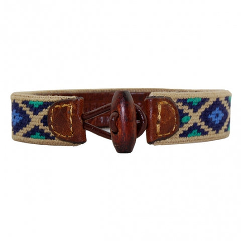 Needlepoint Collection | Gaucho Design Needlepoint Bracelet | Smathers and Branson-Bracelet-Sterling-and-Burke