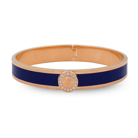 Halcyon Days 1cm Sparkle Button Hinged Enamel Bangle in Navy and Rose Gold
