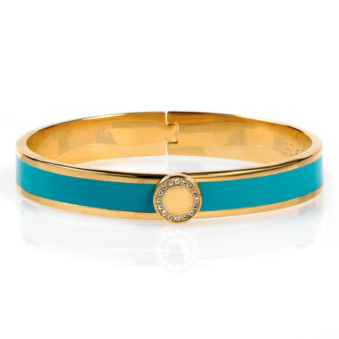 Enamel Bangle | 1cm Sparkle Button Hinged Bangle | Turquoise and Gold | Halcyon Days | Made in England-Bangle-Sterling-and-Burke