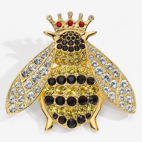 Halcyon Days Sparkle Queen Bee Brooch-Jewelry-Sterling-and-Burke