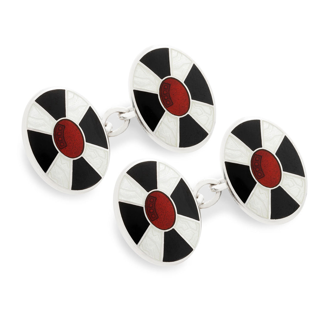 Budd Red Center Cloisonné Enamel Cufflinks in Black & White-Cufflinks & Studs-Sterling-and-Burke