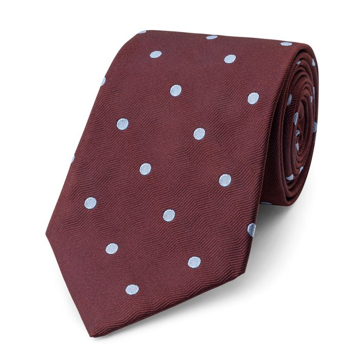 Budd Spot On Wavy Silk Tie in Rust & Sky-Necktie-Sterling-and-Burke
