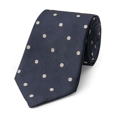 Budd Spot On Wavy Silk Tie in Navy & Ivory