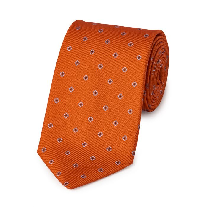 Budd Square with Inner Dot 50oz Silk Tie in Orange-Necktie-Sterling-and-Burke