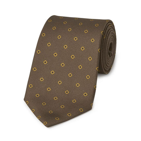 Budd Square with Inner Dot 50oz Silk Tie in Brown-Necktie-Sterling-and-Burke