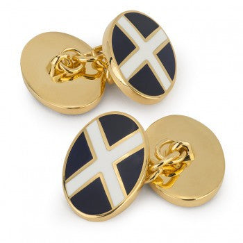 St. Andrew's Cross Enamel Cufflinks-Enamel Cufflinks-Sterling-and-Burke