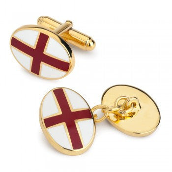 St. George's Cross Enamel Cufflinks-Enamel Cufflinks-Sterling-and-Burke
