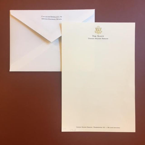 Bespoke Proof | Bahrain Embassy Stationery | Correspondence Sheet and Envelope | Gold Seal and Text in Two Locations - Text on Large Correspondence Sheets and Text on Envelope Set | Hand Engraved | Sterling and Burke Ltd-Custom Stationery-Sterling-and-Burke