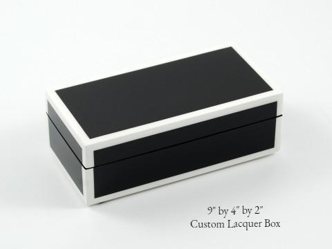Bespoke Lacquer Stationery Box | Rectangular Desk Box | Stationery Box | Custom Box for Corporate Gift Giving | Sterling and Burke Ltd-Desk Accessory-Sterling-and-Burke