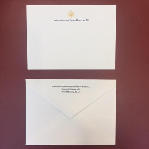 Bespoke Stationery | Medium Correspondence Card and Envelope Set | Gold Logo Seal and Text on Correspondence Card and Address on Envelope | Hand Engraved | Sterling and Burke Ltd-Custom Stationery-Sterling-and-Burke