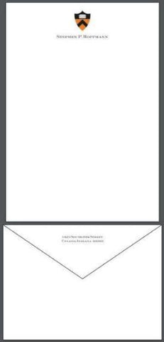 Bespoke Stationery | Large Correspondence / Executive Sheet and Envelope Set | Two Color Seal and Text on Sheet and Address on Envelope Flap | Hand Engraved | Sterling and Burke Ltd-Custom Stationery-Sterling-and-Burke