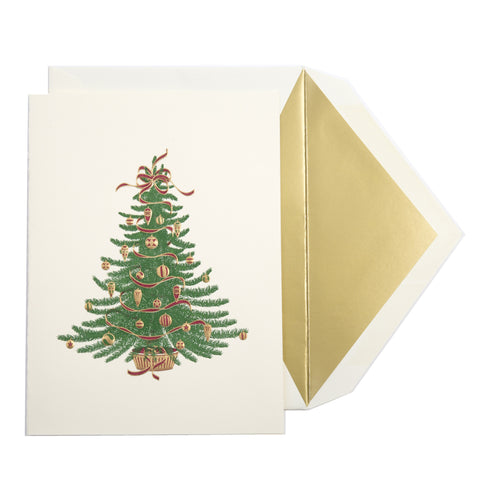 Single Christmas Tree Christmas Card | Hand Engraved | Dempsey and Carroll-Stationery-Sterling-and-Burke
