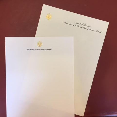 Bespoke Stationery | Monarch Sheet and Envelope Set | Gold Seal and Text in Two Locations on Sheet and Address on Envelope | Hand Engraved | Sterling and Burke Ltd-Custom Stationery-Sterling-and-Burke