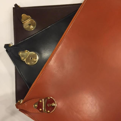 Zip Around Portfolio with Lock | Bridle Hide | Hand Made in England | Tan, Brown, Black | Sterling and Burke Ltd-Portfolio-Sterling-and-Burke