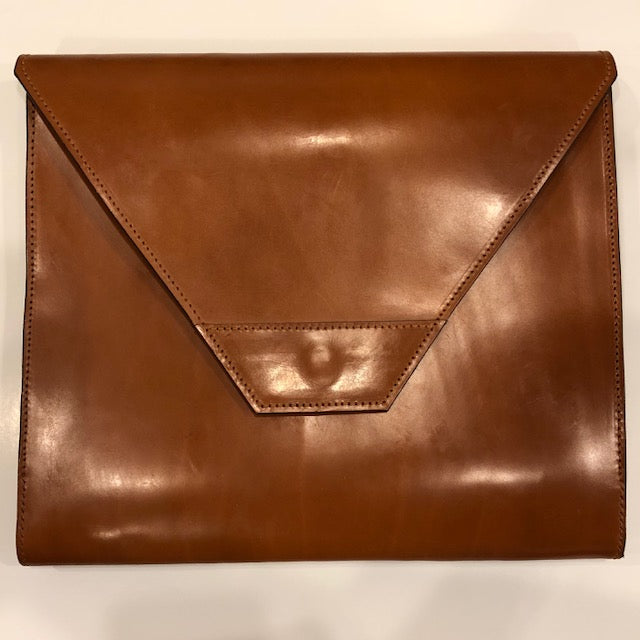 Letter Size Flap Over Portfolio | Large Flap | Magnetic | English Bridle | Dark London Tan | Made in England | Sterling and Burke-Portfolio-Sterling-and-Burke