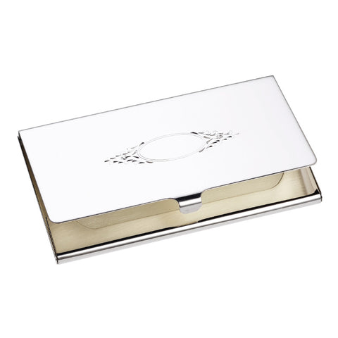 Sterling Silver Business Card Case Holder Shield For Engraving