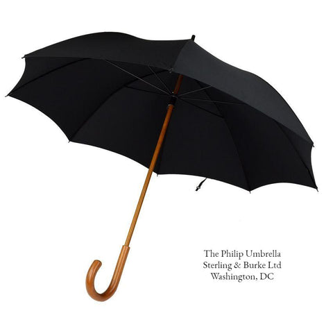 The Philip Garden Umbrella | A Gents Royal Umbrella | Malacca Handle Umbrella | Royal Garden Party Umbrella With Option of Gold Collar | Black Canopy | Made in England | Sterling and Burke