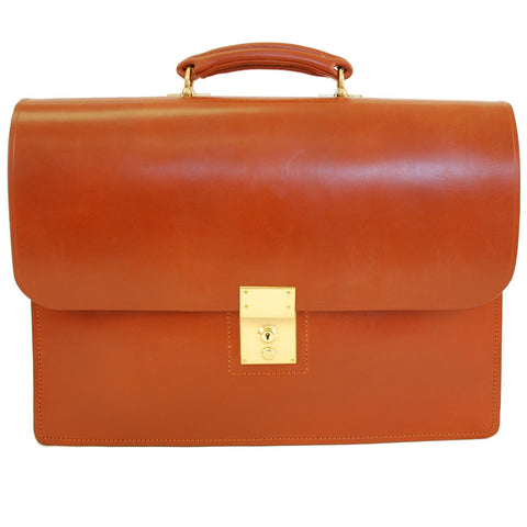 Twin Gusset Document Case, Dark London Tan