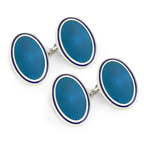 Budd Sunburst Cloisonné Enamel Cufflinks in Turquoise & Navy-Cufflinks & Studs-Sterling-and-Burke