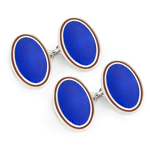 Budd Sunburst Cloisonné Enamel Cufflinks in Royal & Red-Cufflinks & Studs-Sterling-and-Burke