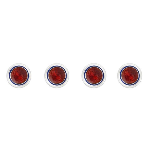 Budd Sunburst Cloisonné Enamel Studs in Red and Navy