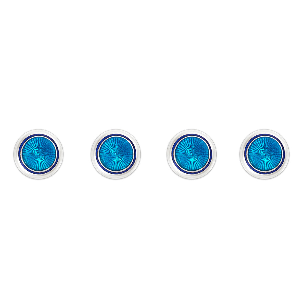 Budd Sunburst Cloisonné Enamel Studs in Turquoise and Navy-Cufflinks & Studs-Sterling-and-Burke