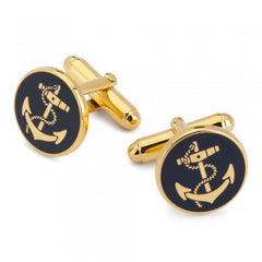 Anchor Cuff Links | Small Gold and Enamel Cufflinks | Navy Blue | Made in England-Enamel Cufflinks-Sterling-and-Burke