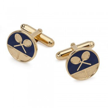 Tennis Blue Enamel T-Bar Cufflinks-Enamel Cufflinks-Sterling-and-Burke