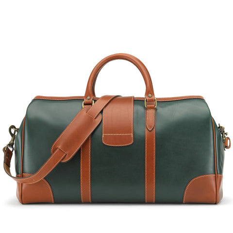 Tusting Chellington Leather Duffle Bag in Green-Travel Bags-Sterling-and-Burke