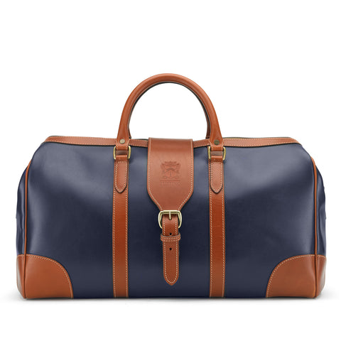 Tusting Chellington Leather Duffle Bag in Navy