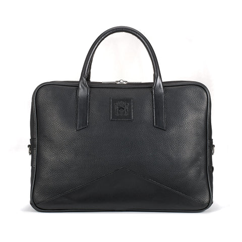 Tusting Langford Leather Brief Bag in Black